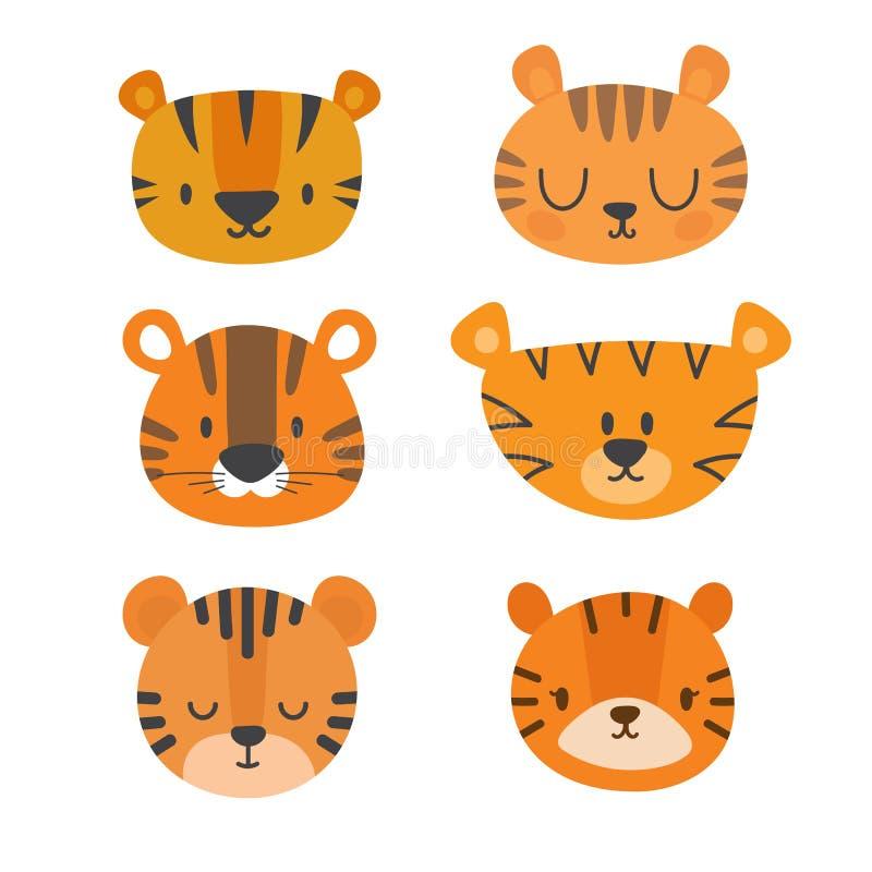 Set śliczni tygrysy Śmieszni doodle zwierzęta Mały tygrys w kreskówka stylu ilustracja wektor