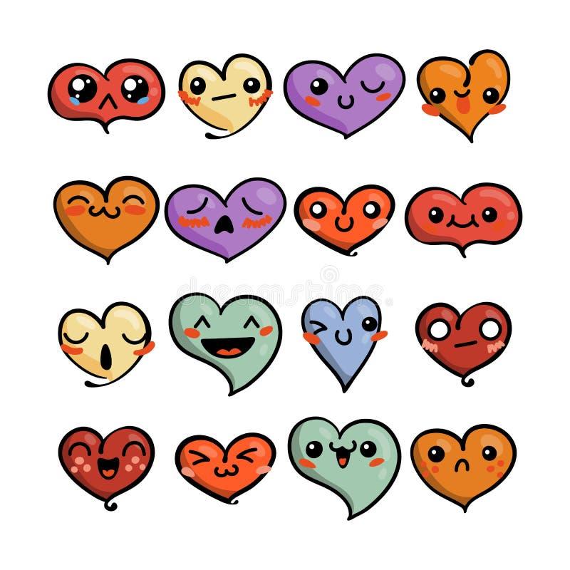 Set śliczni uroczy emoticons Doodle kawaii twarzy, słodkiego i dziecinnego manga kreskówki styl, royalty ilustracja