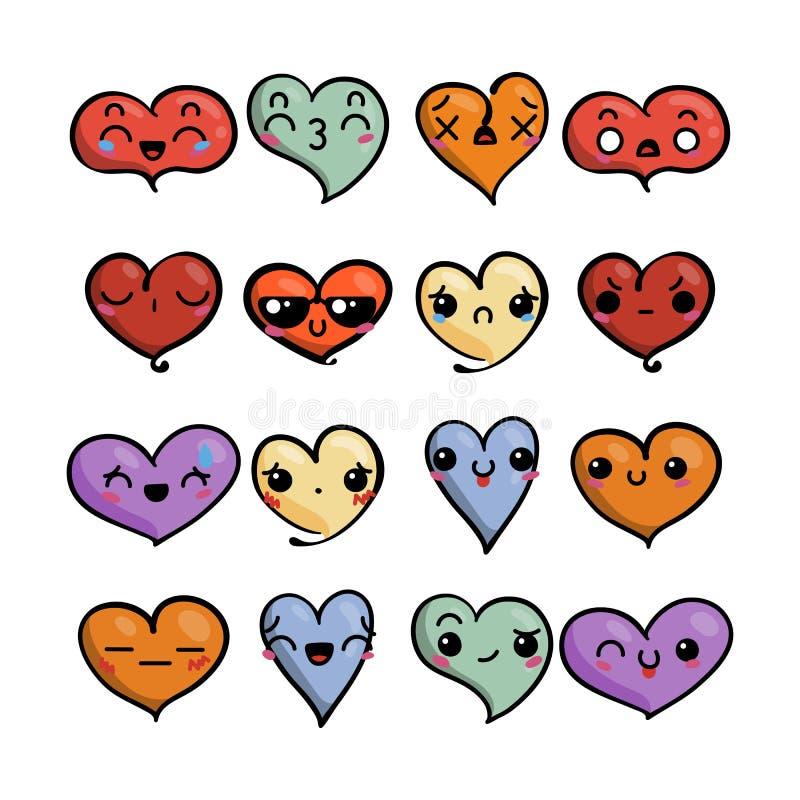 Set śliczni uroczy emoticons Doodle kawaii twarzy, słodkiego i dziecinnego manga kreskówki styl, ilustracji