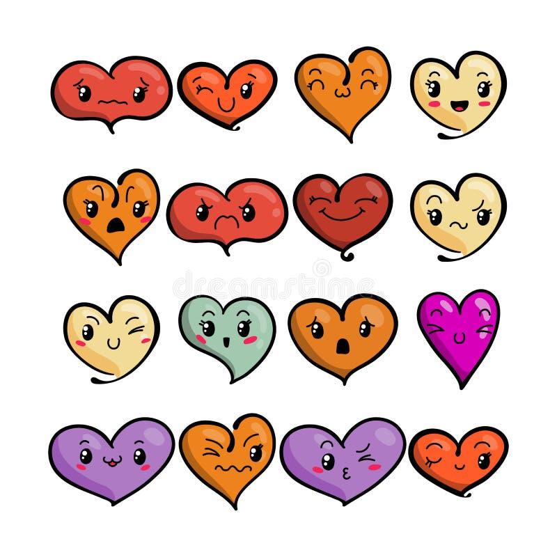 Set śliczni uroczy emoticons Doodle kawaii twarzy, słodkiego i dziecinnego manga kreskówki styl, ilustracja wektor
