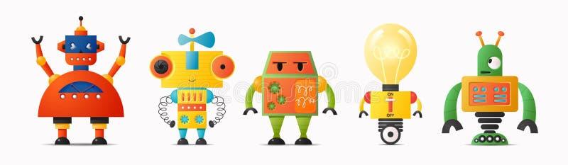 Set śliczni wektorowi robotów charaktery dla dzieciaków Przyszłościowa robotyka i sztuczna inteligencja ilustracji