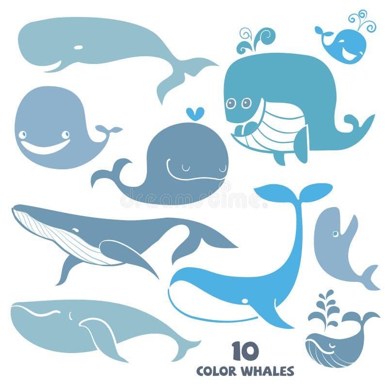 Set śliczni Wielorybi charaktery royalty ilustracja