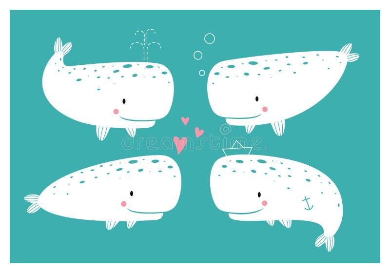 Set śliczni wieloryby zdjęcia royalty free