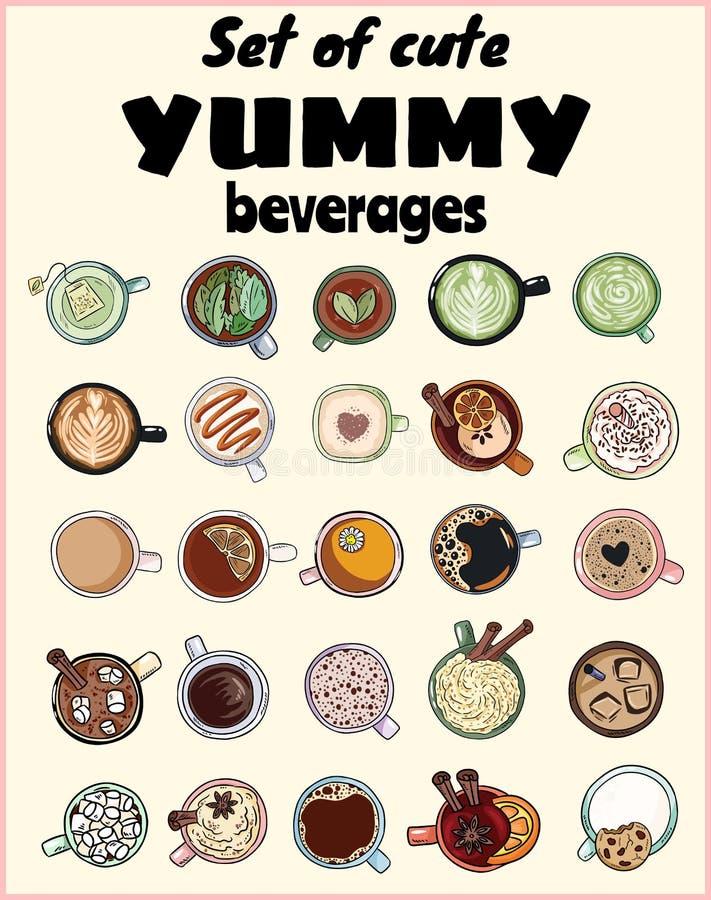 Set śliczni yummy napoje Filiżanki herbaty i kawy doodles Ręka rysująca kreskówka stylu kolekcja doodles ilustracja wektor