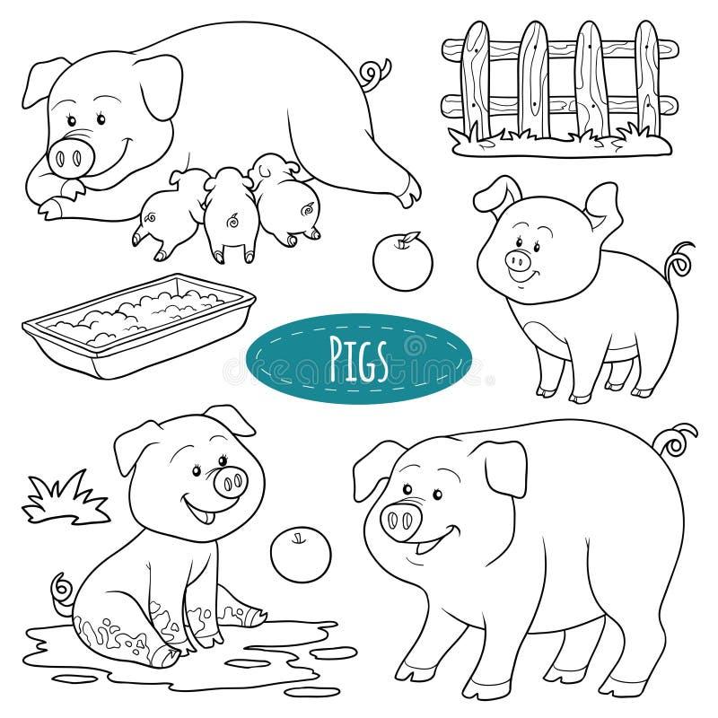 Set śliczni zwierzęta gospodarskie i przedmioty, wektorowe rodzinne świnie ilustracja wektor