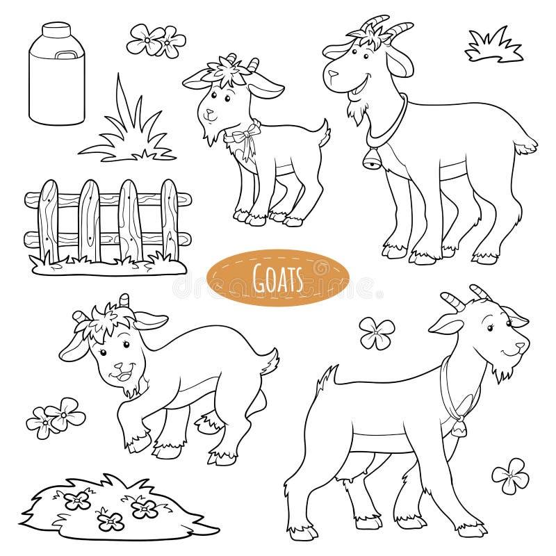 Set śliczni zwierzęta gospodarskie i przedmioty, wektorowe rodzinne kózki ilustracja wektor