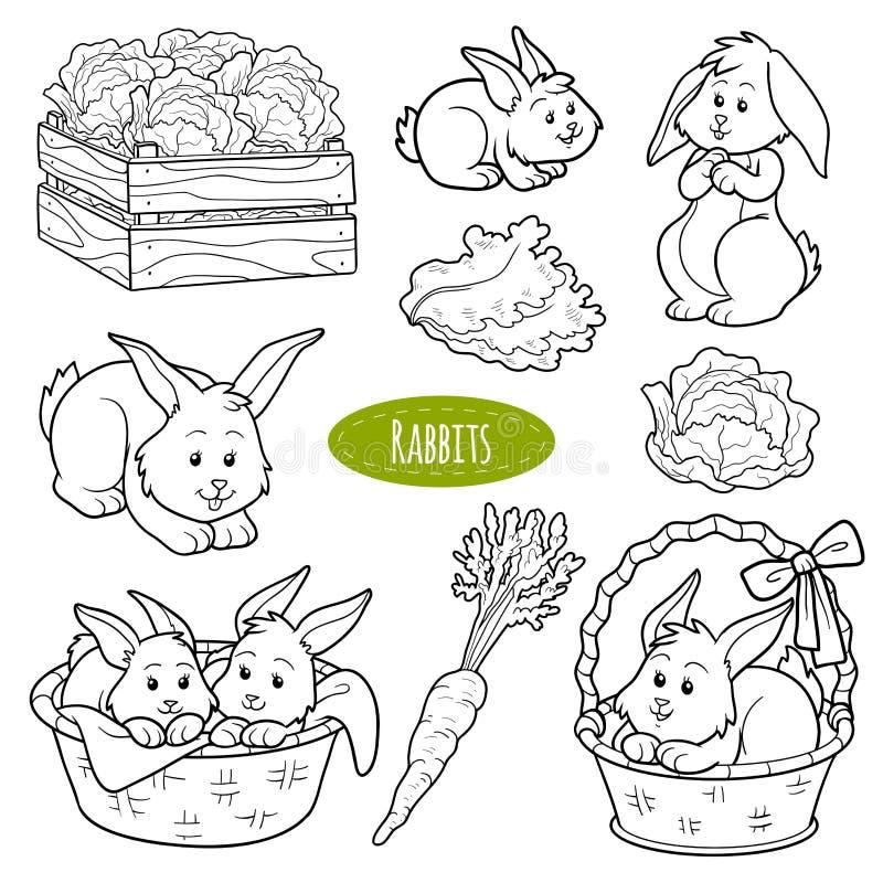 Set śliczni zwierzęta gospodarskie i przedmioty, wektorowi rodzinni króliki ilustracji