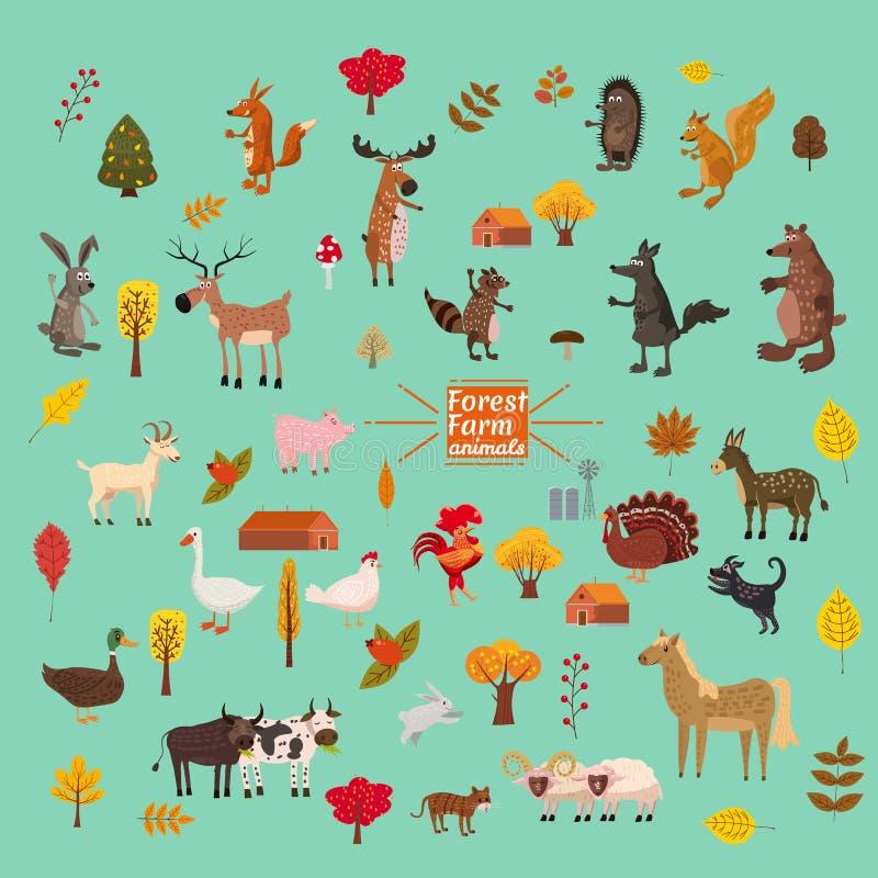 Set śliczni, śliczni zwierzęta i, lis, niedźwiedź, wilk, świnia, królik, kot, szop pracz, krowa, koń, byk, krowa ilustracji