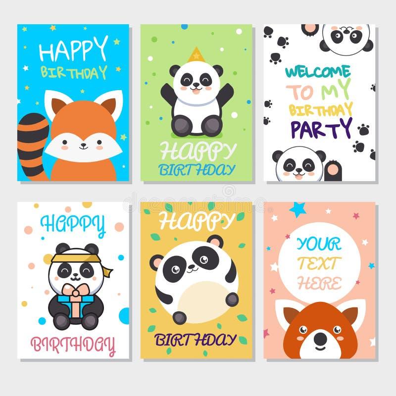 Set śliczni zwierzęta plakatowi Śliczny wszystkiego najlepszego z okazji urodzin kartka z pozdrowieniami dla dziecko zabawy kresk ilustracji
