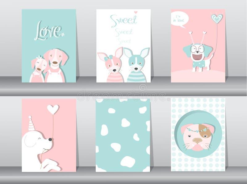 Set śliczni zwierzęta plakaty, projekt dla valentine ` s dnia, szablon, karty, psy, Wektorowe ilustracje ilustracja wektor