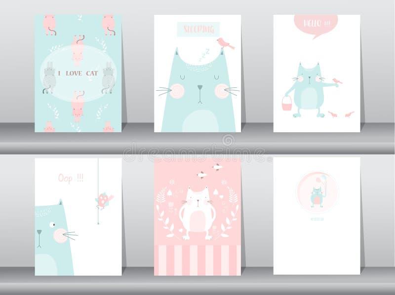 Set śliczni zwierzęta plakaty, szablon, karty, koty, Wektorowe ilustracje ilustracja wektor