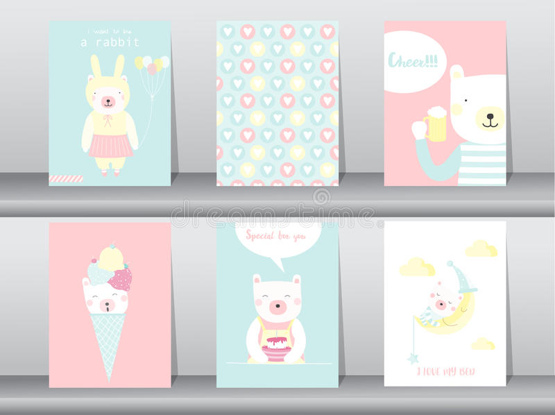 Set śliczni zwierzęta plakaty, szablon, karty, niedźwiedź, Wektorowe ilustracje royalty ilustracja