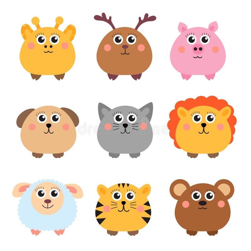 Set śliczni zwierzęta zaokrąglający kształt Round zwierzęta również zwrócić corel ilustracji wektora ilustracja wektor