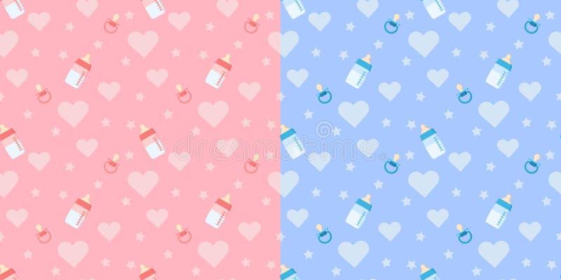 Set śliczny bezszwowy wzór z dziecko butelką, pacyfikator, serce royalty ilustracja