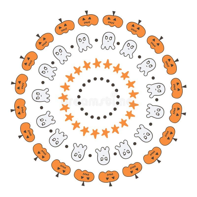 Set śliczny doodle, ręki rysować Halloween granicy, ramy na białym tle royalty ilustracja