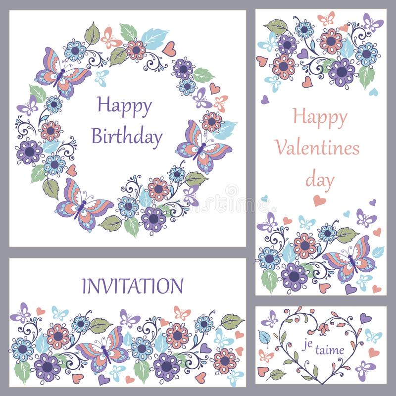 Set śliczny kartka z pozdrowieniami z motylami i sercami dla urodziny, ślub, gratulacje, zaproszenie royalty ilustracja