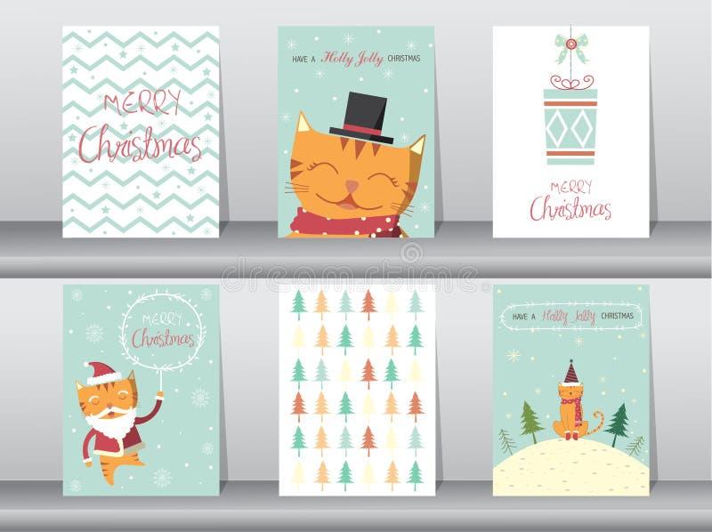 Set śliczny kota kartka z pozdrowieniami, plakat, szablony, boże narodzenia, Wektorowe ilustracje royalty ilustracja