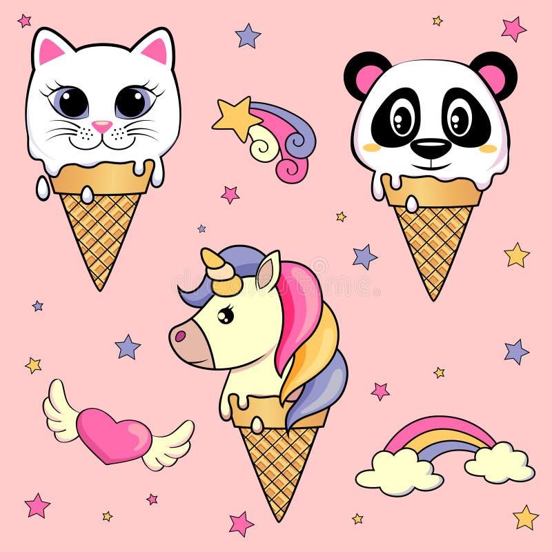 Set śliczny kreskówka lody z jednorożec, kot, panda royalty ilustracja