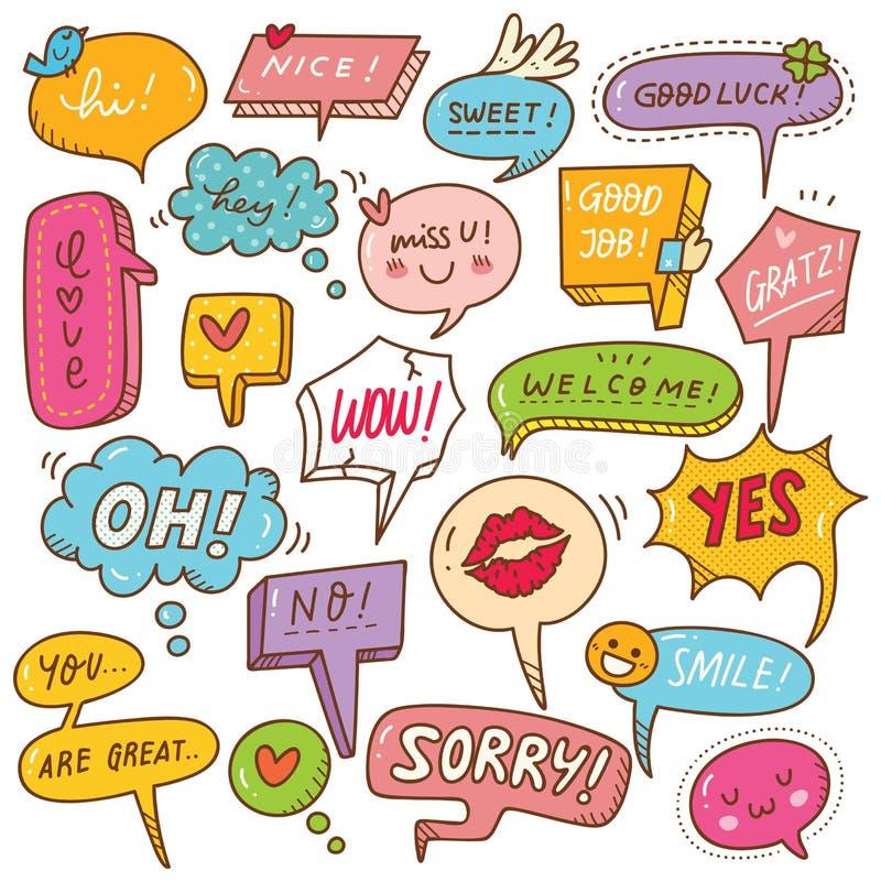 Set śliczny mowa bąbel w doodle stylu ilustracji