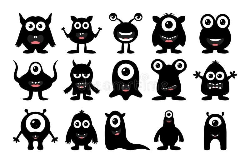 Set śliczny szczęśliwy potwór na białym tle royalty ilustracja