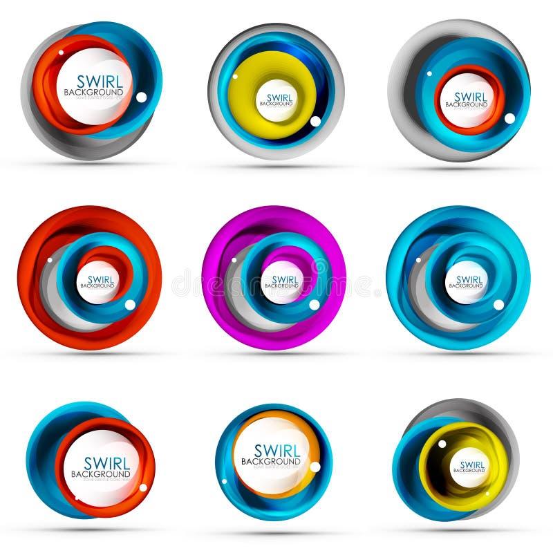 Set ślimakowaty zawijasa spływanie wykłada 3d ikony wektorowych abstrakcjonistycznych projekty Płodozmienni pojęcia ilustracji