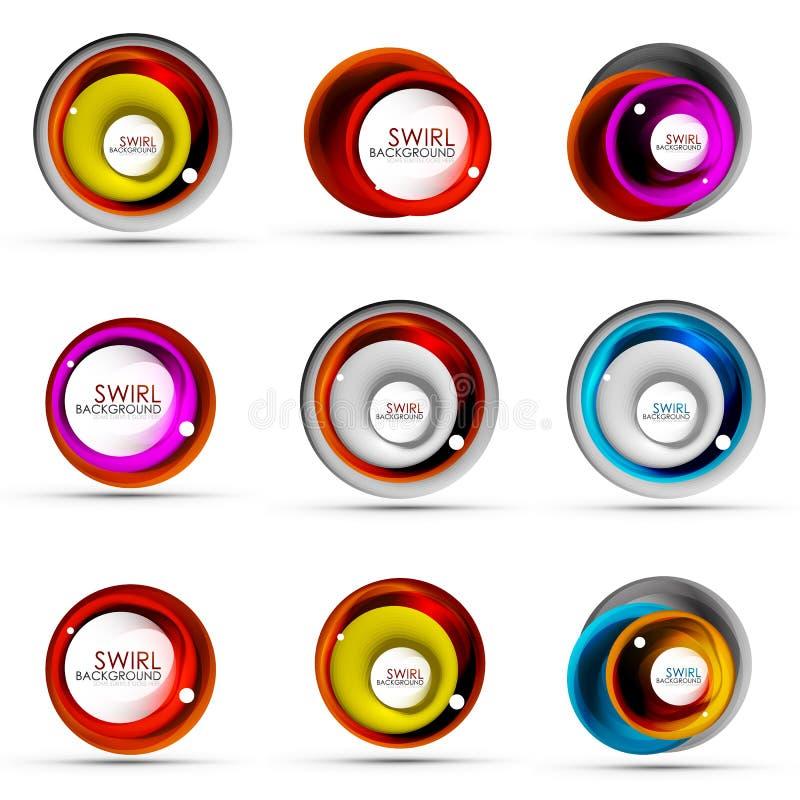 Set ślimakowaty zawijasa spływanie wykłada 3d ikony wektorowych abstrakcjonistycznych projekty Płodozmienni pojęcia ilustracja wektor
