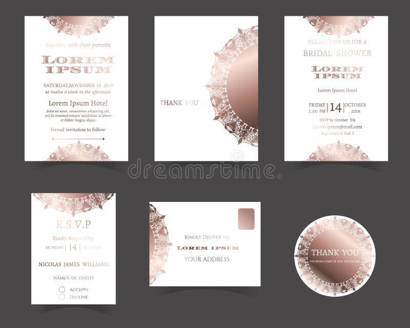 Set ślubna zaproszenie karta Laser Rżnięta kolekcja Różany złoto styl royalty ilustracja