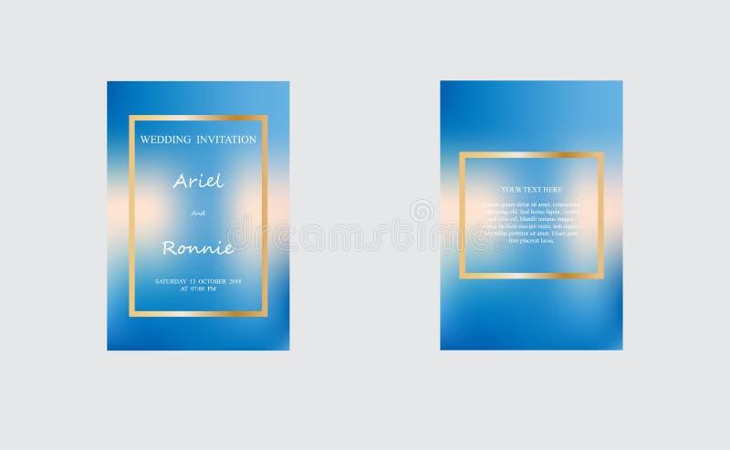 Set Ślubna zaproszenie karta, niebo siatki kolor ilustracji