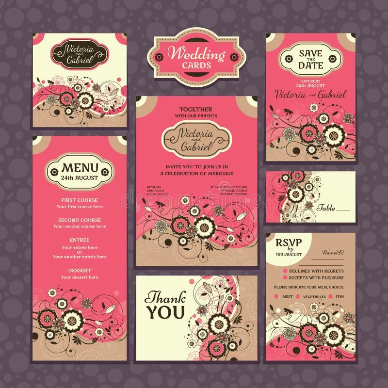 Set ślubne karty royalty ilustracja