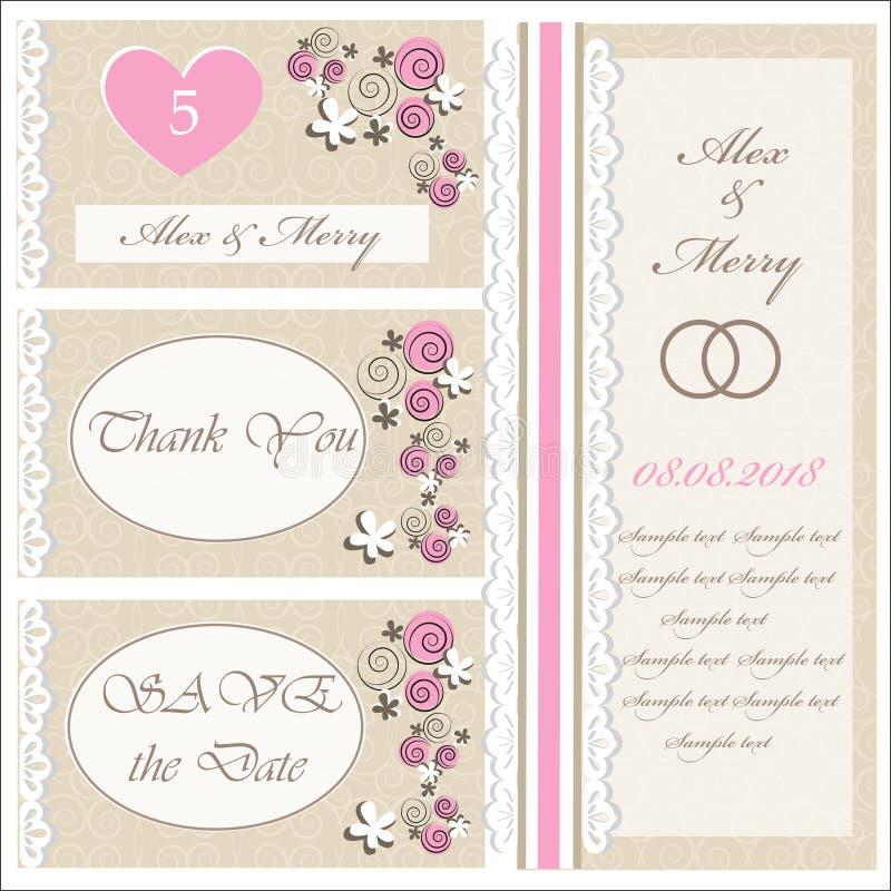 Set ślubni zaproszenia i zawiadomienia royalty ilustracja