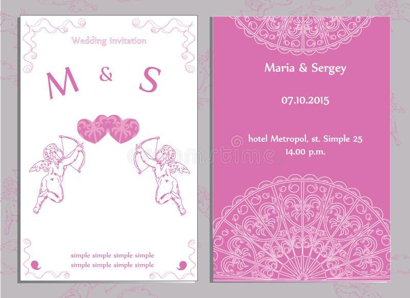Set ślubni zaproszenia i zawiadomienia ilustracji