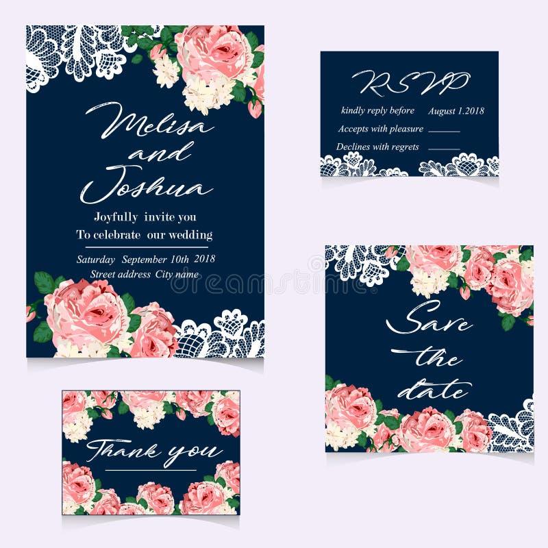 Set ślubni zaproszenia i zawiadomienia z rocznik koronką royalty ilustracja