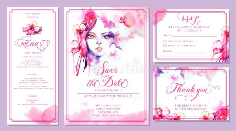 Set ślubni zaproszenie karty szablony - akwarela piękna ilustracji