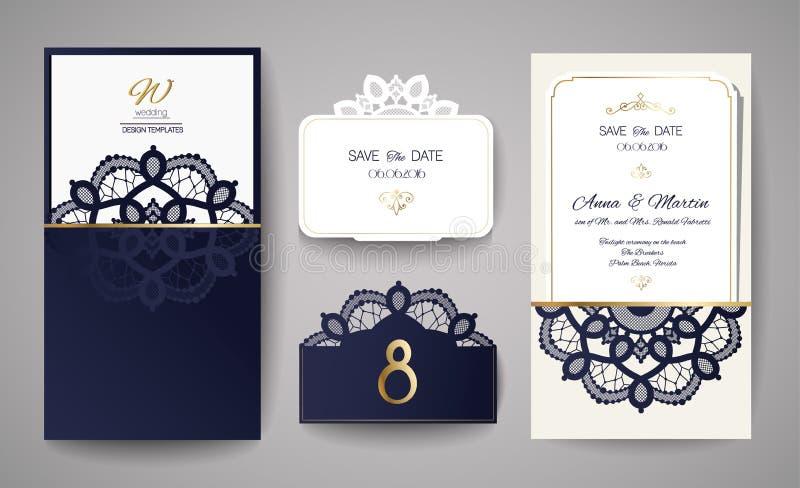 Set Ślubny zaproszenie rocznik Szablon dla laserowego rozcięcia również zwrócić corel ilustracji wektora royalty ilustracja