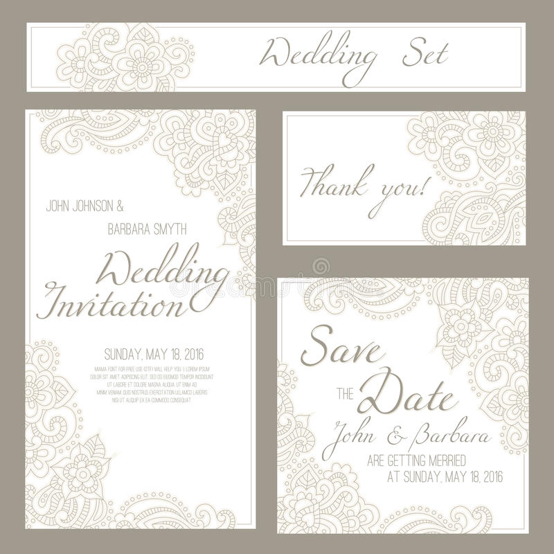 Set ślubu, zaproszenia lub rocznicy karty z romantycznym kwiecistym tłem, ilustracja wektor