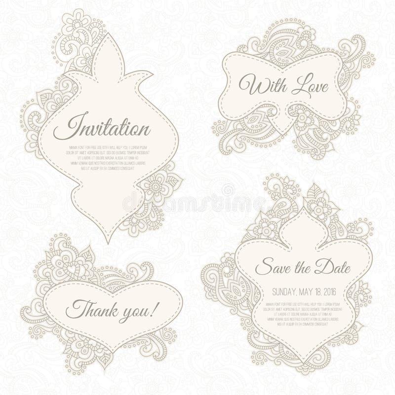 Set ślubu, zaproszenia lub rocznicy karty z romantycznym kwiecistym tłem, ilustracji