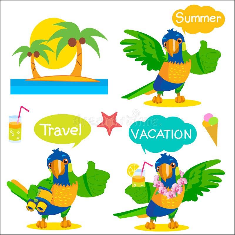 Set Śmieszna Papuzia Turystyczna maskotka Wakacje I turystyki ikony I rozmowa balony ilustracji
