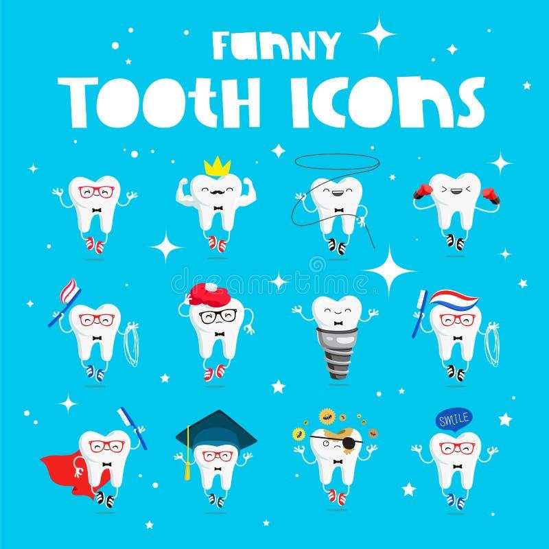 Set śmieszne ikony zęby royalty ilustracja
