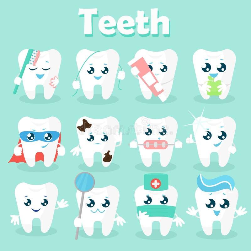 Set śmieszne ikony zęby wektorowa ilustracja na błękitnym tle Pojęcie dzieci s dentystyka Znakomity stomatologiczny ilustracja wektor