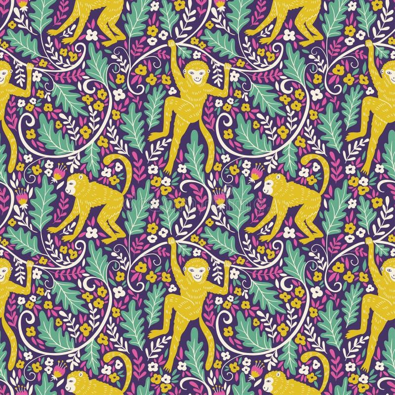 Set śmieszne małpy w różnych pozach w dżungli Wektorowy bezszwowy wzór dla twój zwierzęcego tkanina projekta royalty ilustracja