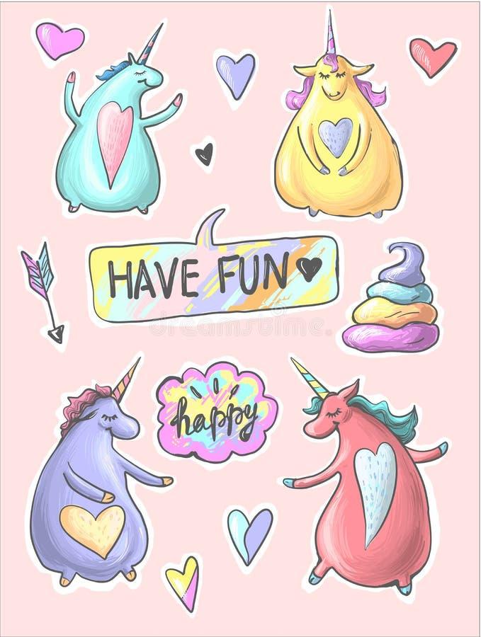 Set śmiesznej kreskówki dancingowe magiczne jednorożec Łata, odznaka majcher Kolekcja ikony, wzór dla odziewa, koszulki ilustracja wektor