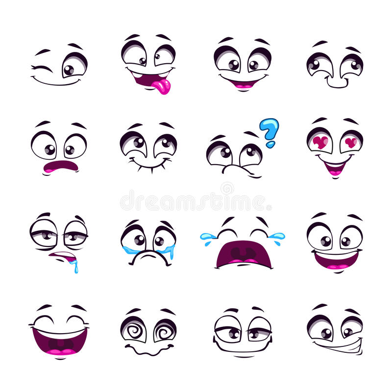 Set śmiesznej kreskówki komiczki wektorowe twarze royalty ilustracja
