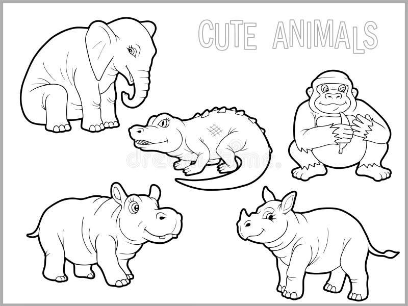 Set śmieszni afrykańscy zwierzęta royalty ilustracja