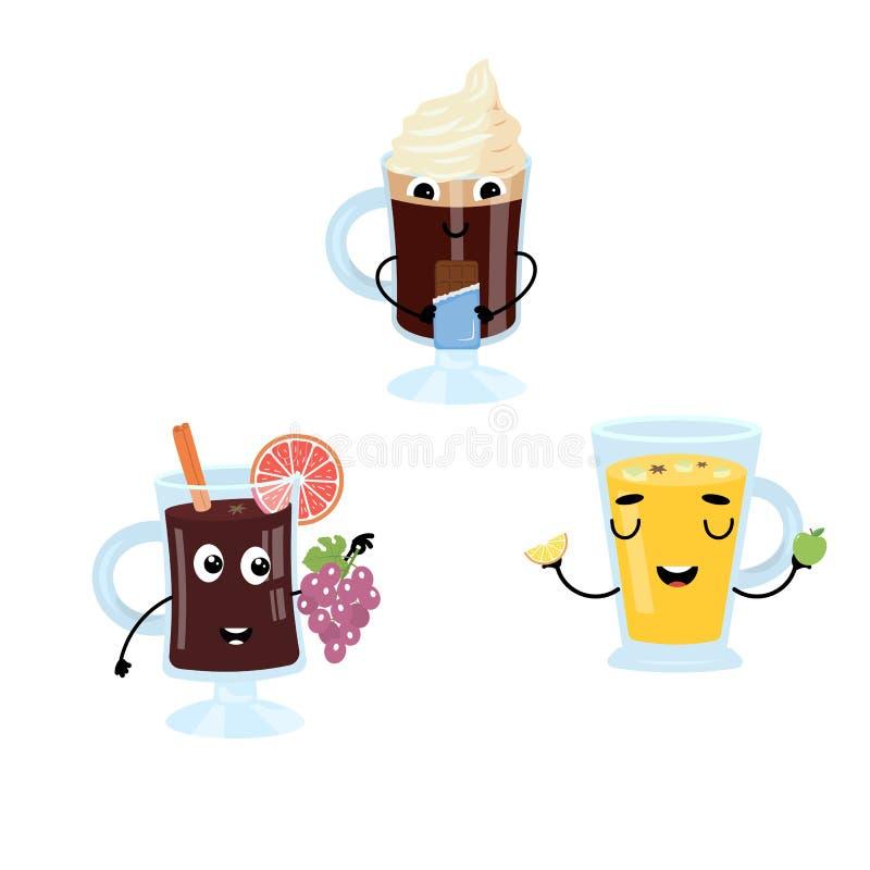 Set śmieszni charaktery od rozmyślającego wina, cydr, kawa z śmietanką ilustracji