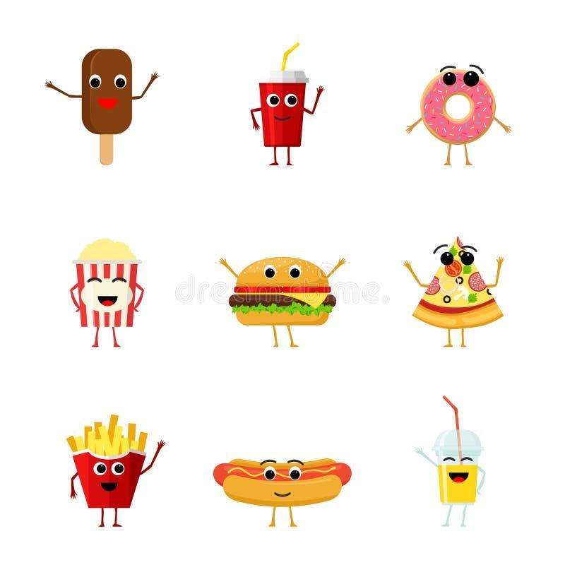 Set śmieszni fastów food charaktery odizolowywający na białym tle Śliczne kreskówki fastfood menu ikony w mieszkaniu projektują royalty ilustracja