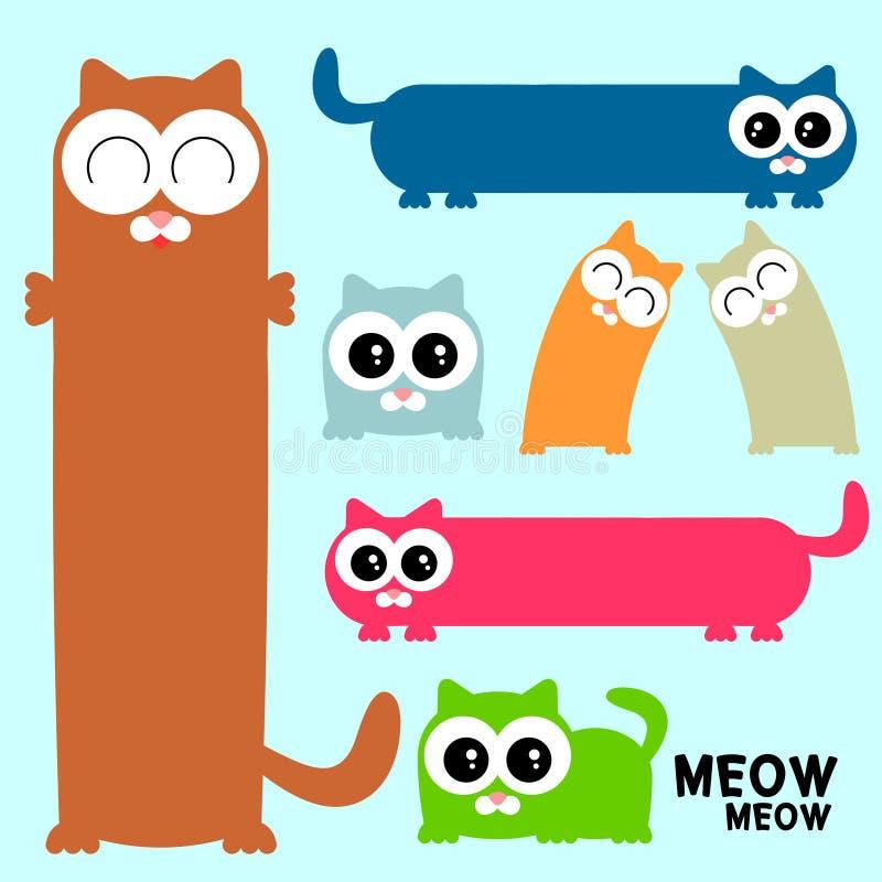 Set śmieszni kolorowi koty ilustracji