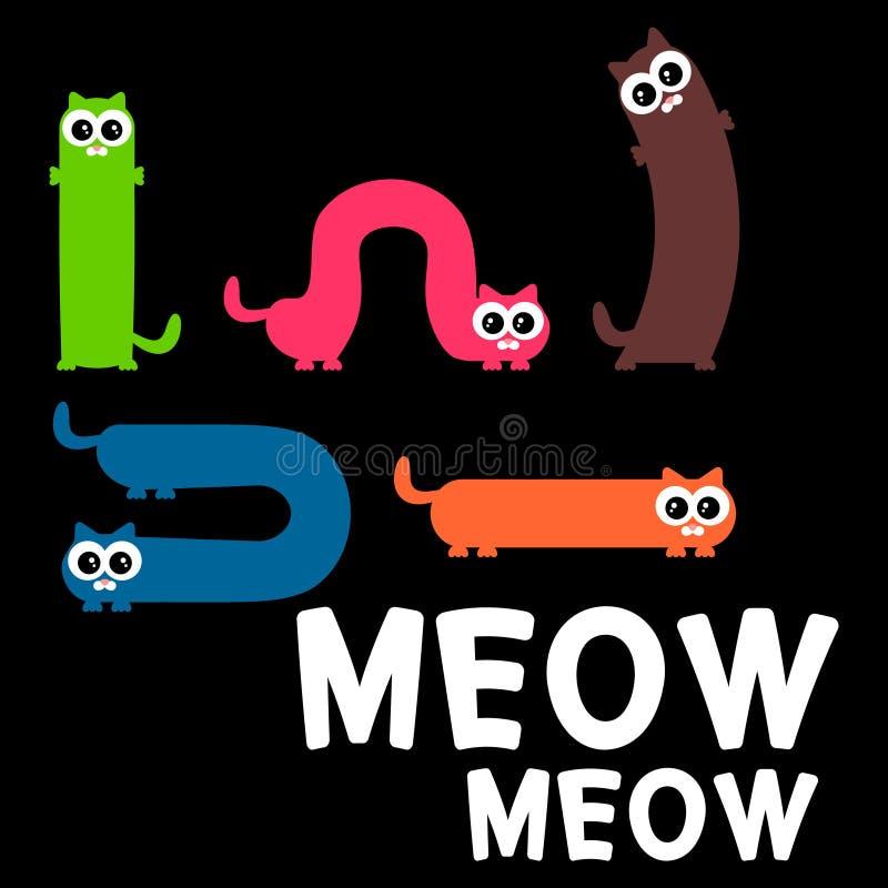 Set śmieszni koty ilustracji