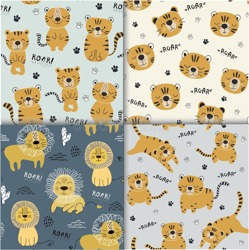 Set śmieszni tygrysy i lwów seamlesss wzór, dziecięca ilustracja dla tkaniny, żartuje pepinierę royalty ilustracja