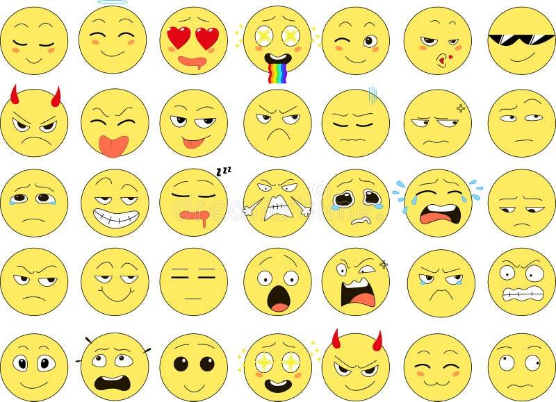 Set śmieszni uśmiechy, sieci ikony, wektor zdjęcia stock