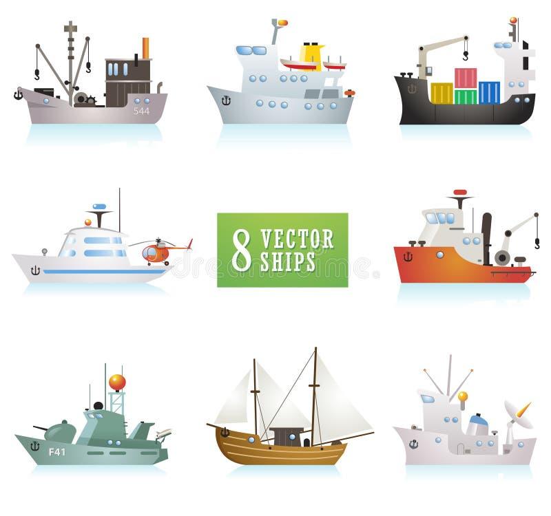 Set śmieszni wektorowi statki w kreskówka stylu ilustracja wektor